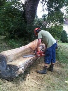 cutting a rough sawn bench