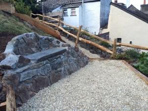 Slate wall seat & gravel path July 15